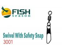 Вертлюжки с застёжкой Rolling Swiwel With Safety Snap 3001 #10