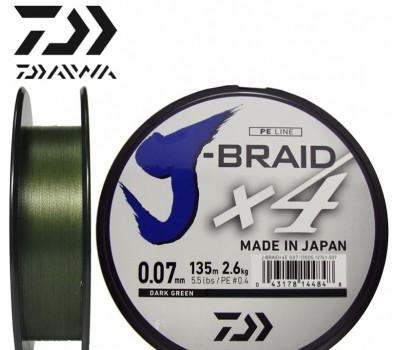 Леска плетёная Daiwa J-Braid x4 Dark Green 0.07мм 135м