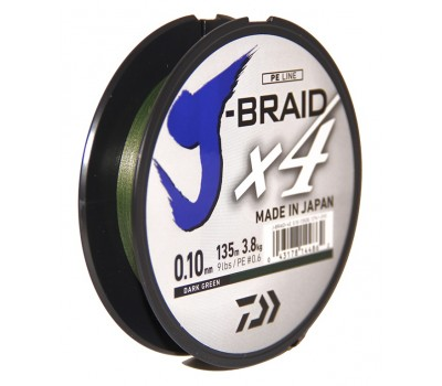 Леска плетёная Daiwa J-Braid x4 Dark Green 0.10мм 135м