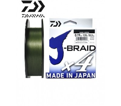 Леска плетёная Daiwa J-Braid x4 Dark Green 0.19мм 135м