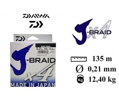 Леска плетёная Daiwa J-Braid x4 Dark Green 0.21мм 135м