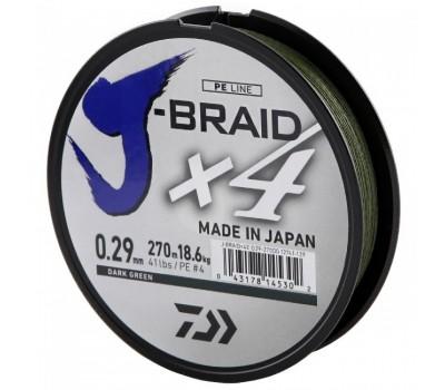 Леска плетёная Daiwa J-Braid x4 Dark Green 0.29мм 135м