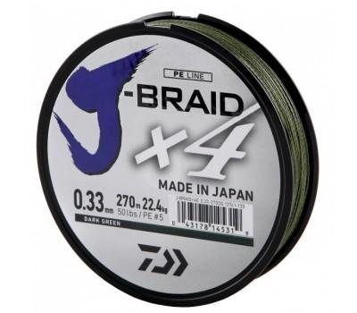 Леска плетёная Daiwa J-Braid x4 Dark Green 0.33мм 135м