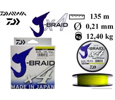 Леска плетёная Daiwa J-Braid x4 Yellow 0.21мм 135м